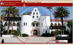 Screen Shot of SDSU's virtual campus tour