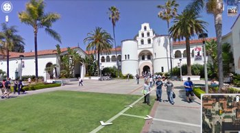 San Diego State University's Hepner Hall is seen in a screen grab from Google Earth's Street View of the university. The program provides a look around the campus.