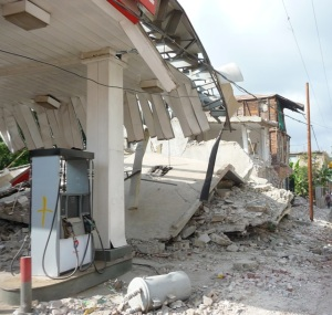 Damaged gas station in Jacmel