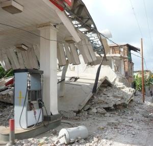 Damaged gas station in Jacmel