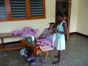 Sewing at Jacmel orphanage