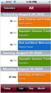 SDSU Mobile Events Calendar