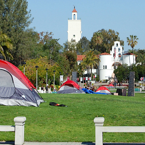students camp out on Campanile Walkway for prime campaign signage spots
